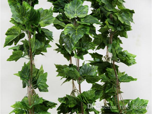 15% off sale 20PCS like real artificial Silk grape leaf garland faux vine Ivy Indoor/outdoor home decor wedding flower green christmas gift