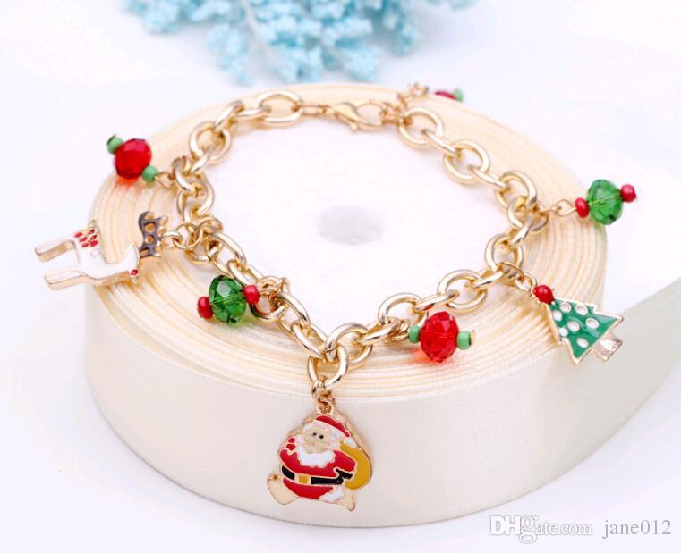 Christmas Gift Fashion Jewellery Chain Bracelets Alloy Oil Drip Santa Christmas Tree Charms Bracelet Cheap Price Free shipping