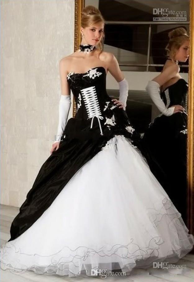 Compre Barato Y Negro Blanco De La Bola Vestidos De Novia Vestido Gótico Victoriano Apliques Sin Tirantes Con Cordones De Organza Vestido De Novia