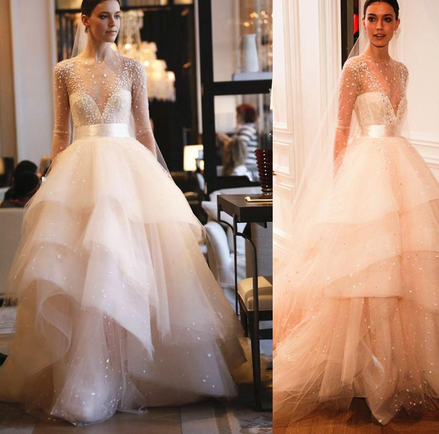 2016 nude wedding dresses with long sleeve sheer beads ball 2016 nude wedding dresses with long sleeve sheer beads ball overlay tulle tiered bride gowns champagne junglespirit Gallery