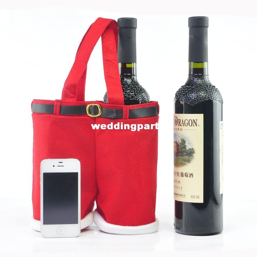 35x25 cm Duży rozmiar Wysokiej jakości prezenty świąteczne Dekoracje Santa Spodnie Torba na butelki wina