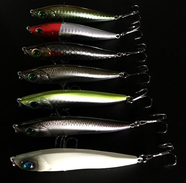 Fishing Long Range Bait Slowly Sinking Pencil Lures 95mm/22g Artificial Bass Lure Hooks Lot 7 Pieces