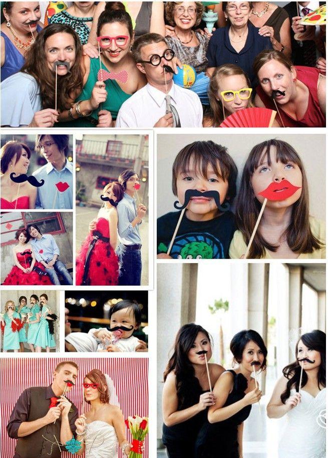 Бесплатная доставка 1Set из 58pcs Photo Booth Реквизит очки Усы губ на палочке Свадебный Birthday Party Fun Фавор TY841