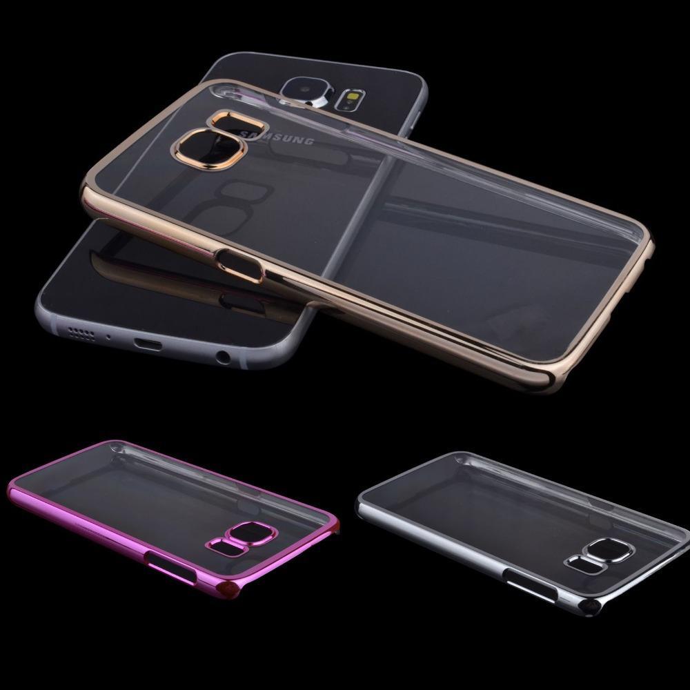 Pour Samsung Galaxy S3 S4 S5 S6 edge + Note 2 3 4 5 Case Clear Electroplate PC Hard Cases Couverture pour Samsung Galaxy cas de téléphone