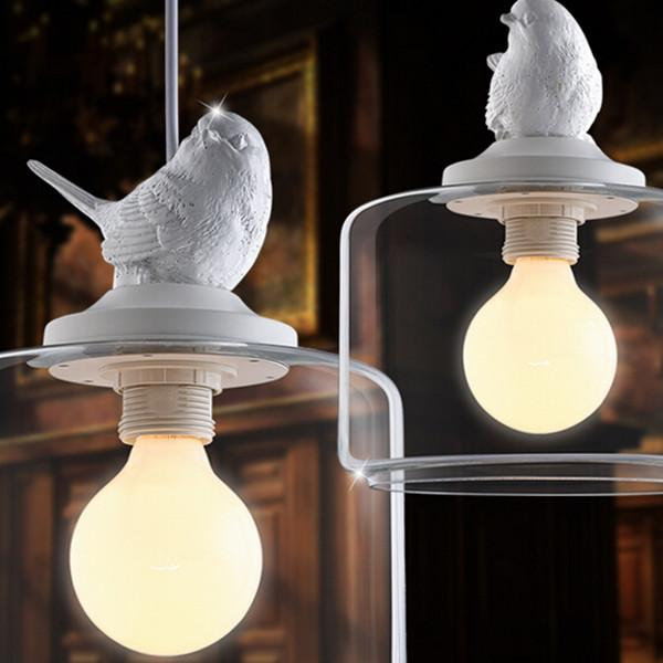 Vintage Bird Industrial Clear Glass Cover Lampshade Pendant Light ...