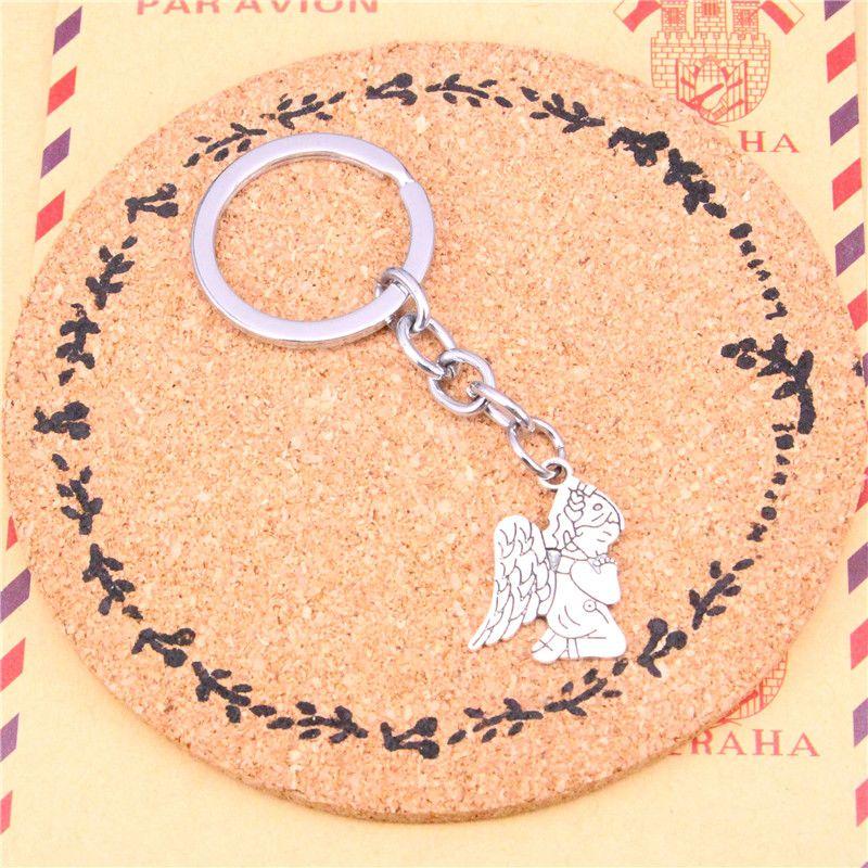 Keychain pray angel Pendants DIY Men Jewelry Car Key Chain Ring Holder Souvenir For Gift