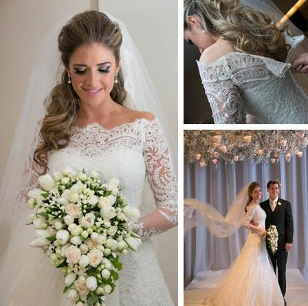 Hot Sales Lace Vintage Wedding Dresses Custom Made Scalloped Neckline Beaded Sweep Train Elegant Long Sleeve Mermaid Wedding Gowns W018 Mermaid