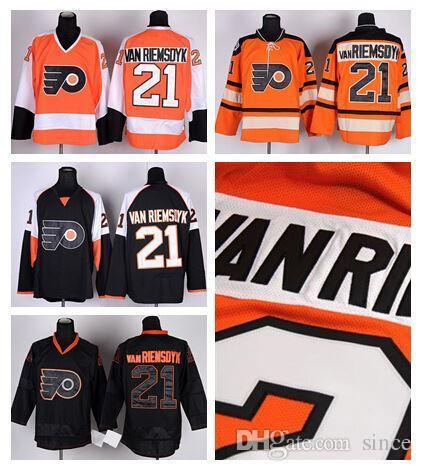 2016 Nieuwe, Goedkope Ice Hockey 21 James VanriemsDyk Philadelphia Flyers Jerseys Winter Classic Orange Black Ice Third Alternate Top Qualit