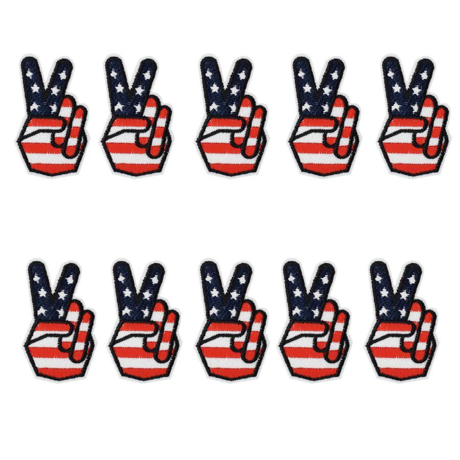 10 PZ Vittoria bandiera Distintivo Ricamo Patch per Abbigliamento Borse Ferro sul Trasferimento Applique Patch per Indumento Giacca FAI DA TE Cucire Ricamo Distintivo
