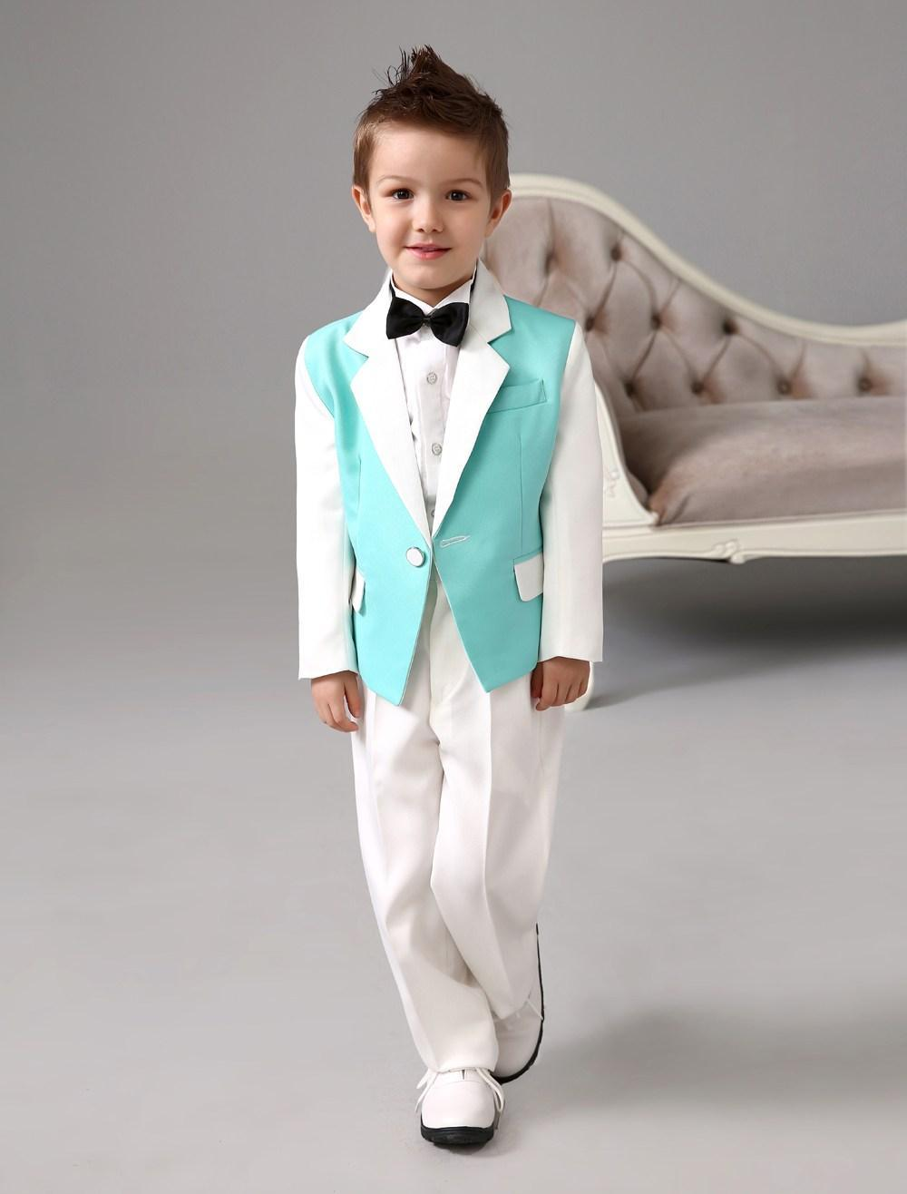 Four Pieces Luxurious Green And White Ring Bearer Suits Boys Tuxedo ...