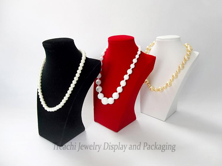 Accesorios de exhibición de joyería Gran 30 cm Altura Joyas de madera Collar Colgante Maniquíes Mostrar Busto Soporte Titular Negro Rojo Terciopelo Portriat Estante