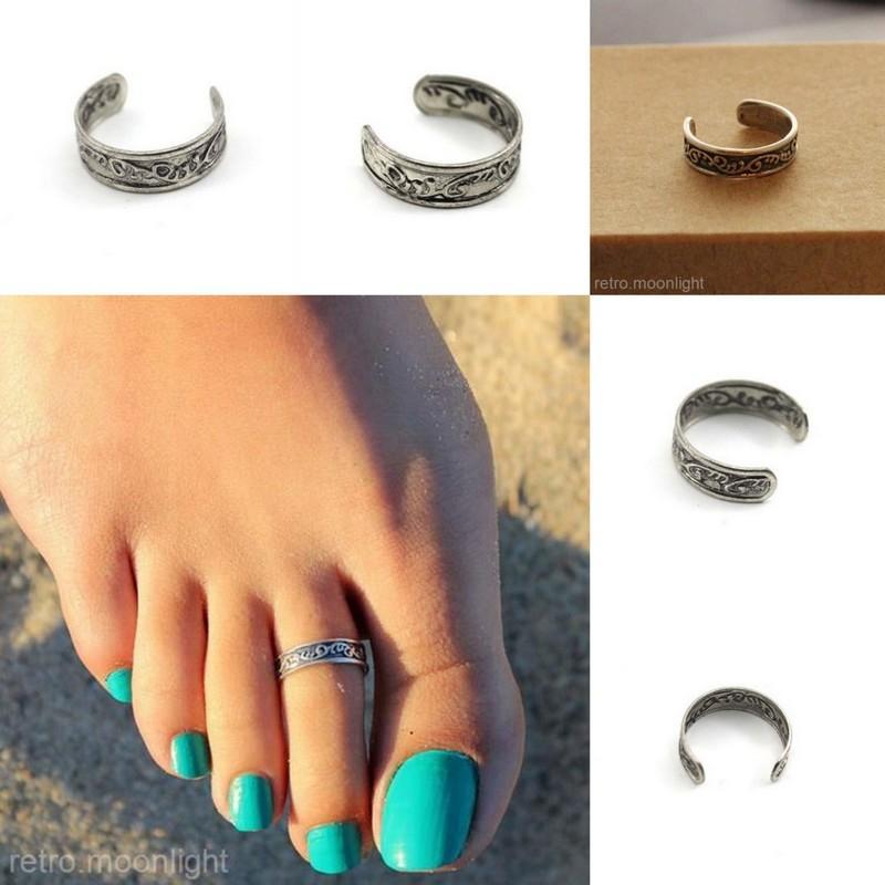 Мода дамы уникальный регулируемый Открытие Toe кольца очаровательная Антикварные серебряные летние пляжные кольца для ног тела ювелирные изделия 50 шт./лот YBLH5000
