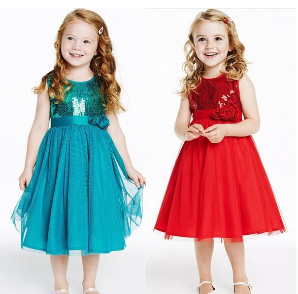 2018 New Summer Girl Dress Sleeveless Flower Gauze Children Vest Princess Dresses sequins Red Blue 100-140 Fit 3-7Age Kids Clothes Wear TR22