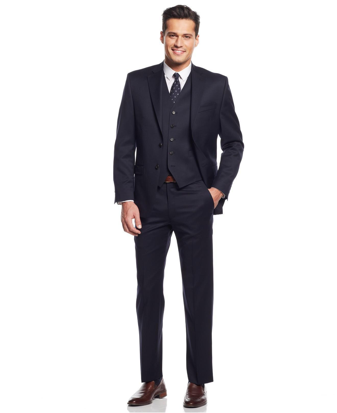 Vente en gros - La dernière version de 100% pure marine manuelle robe trois-pièces messieurs et adapté pour le costume de mariage du marié personnalisé (manteau +