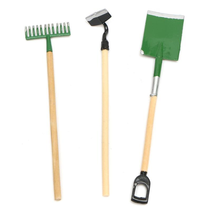 Hot Sale 1 12 Scale Three Small Garden Tools Set Spade Rake Shed Outdoor  Gardening Dolls House Miniature Accessory. Hot Sale 1 12 Scale Three Small Garden Tools Set Spade Rake Shed