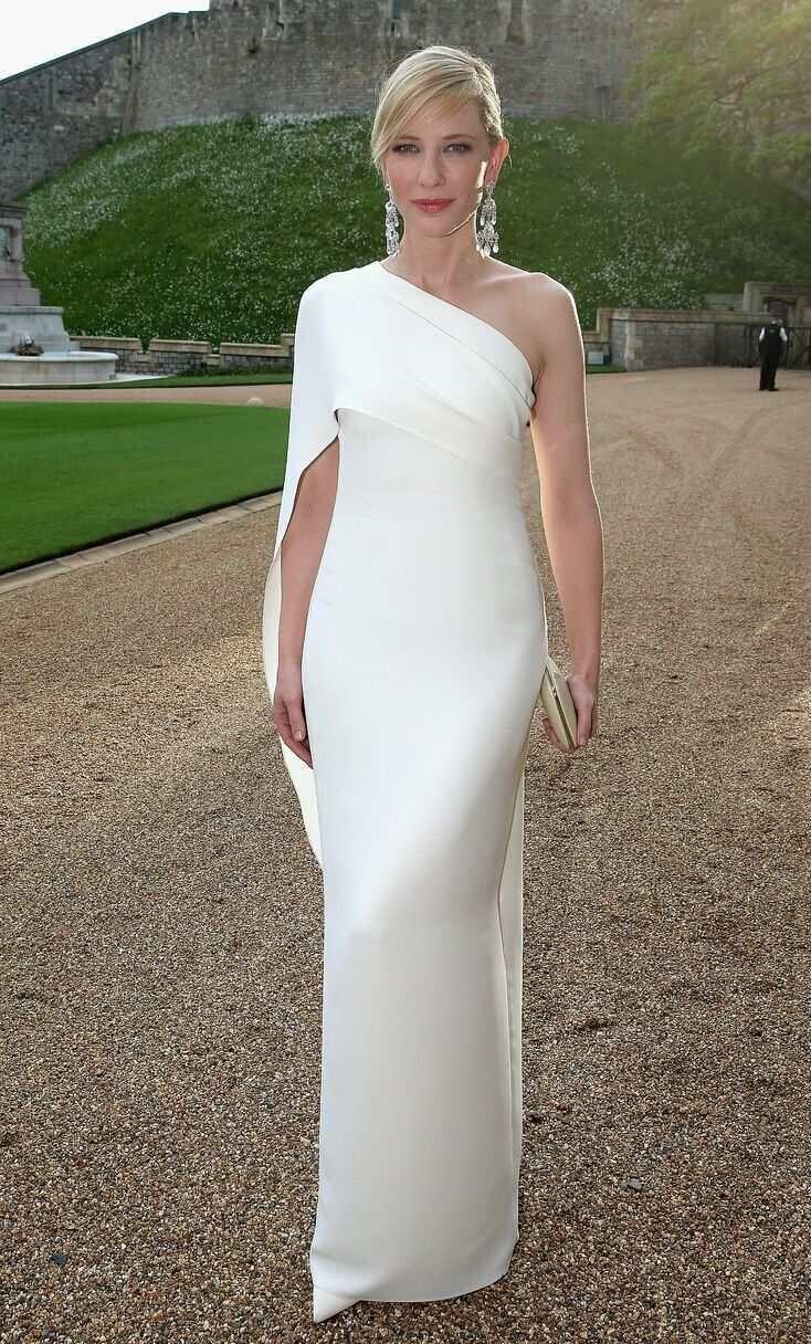 Cate Blanchett Beyaz Abiye Kılıf Bir Omuz Tafta Kat Uzunluk Seksi Elbise Ruffles Zarif Balo Elbise Fermuar Abiye