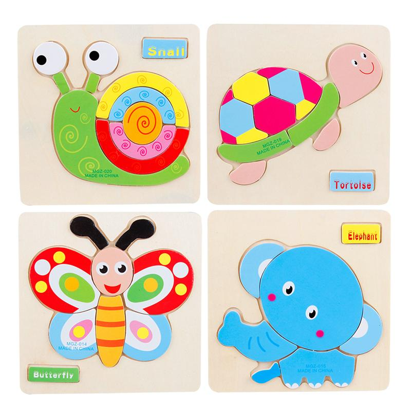 Cartoon Animal Wooden Puzzles for Children Jigsaw Montessori Educational Toys