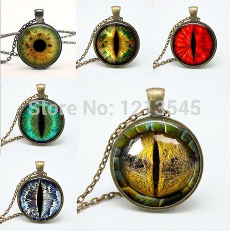 Mix Dragon Eye pendentif Colliers personnalité yeux de chat Pendentifs colorés photo oeil verre dôme pendentif colliers pour les femmes bijoux