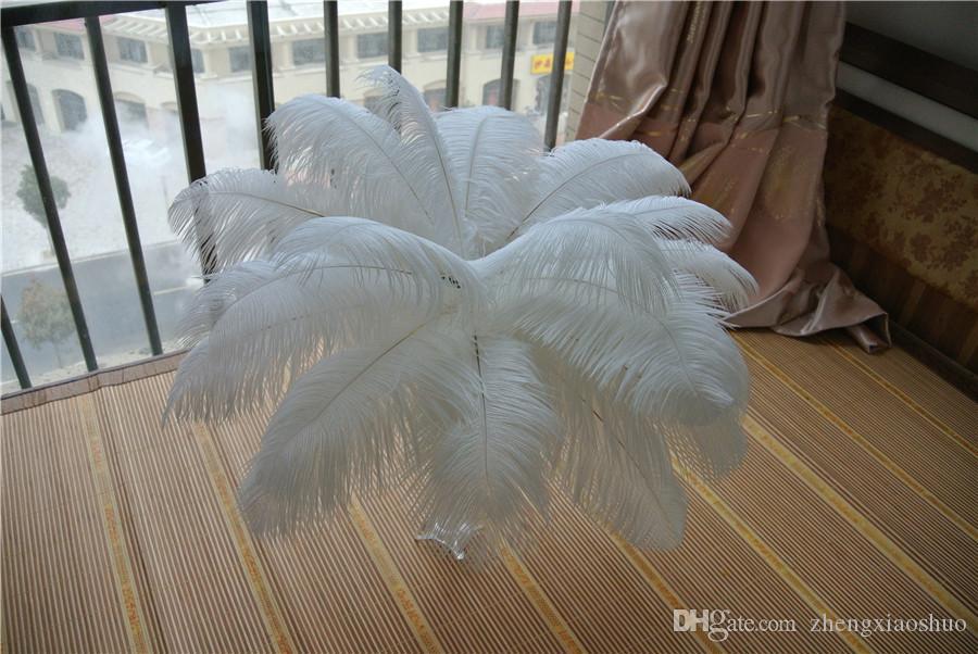 Wholesale 200pcs /ロット14-16インチ(35-40cm)ホワイトダチョウの羽のためのウェディングセンターピースパーティーテーブルセンターピース結婚式の装飾