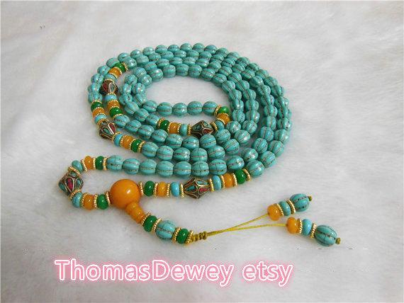 무료 배송 - Natural Turquoise Beads 휠 묵주 요가 108 밀랍 목걸이가있는기도 구슬