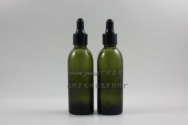 60ml 올리브 그린 유리 에센셜 오일 병 알루미늄 (블랙 링 + 블랙 러버) 드롭퍼 캡. 에센셜 오일 용기
