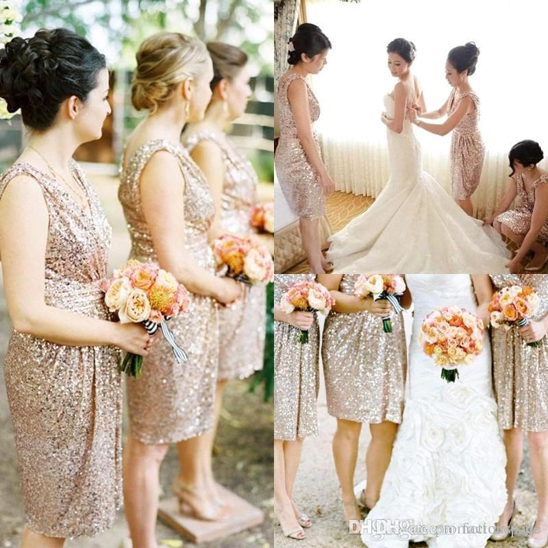 Blingbling Rose Gold Sequins Bridesmaid Dresses Knee Length V Neck Maid of Honor Dresses Beach Garden Formal Party Dresses BO8247