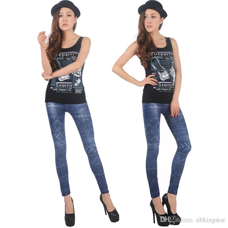 2015 üst satış yeni moda kadın Denim Jeans tayt Jeggings seksi Dokuz tayt Denim pantolon koyu Blue10Pcs / Lot ücretsiz kargo