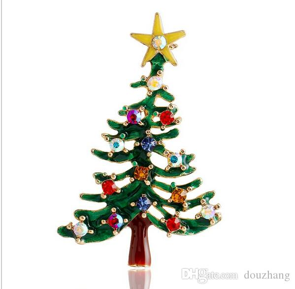 Fashion Trendy Hot Multicolour Rhinestone Enamel Delicacy Christmas Tree Brooch Pin Brooches Xmas Gifts Wholesale 12 Pcs