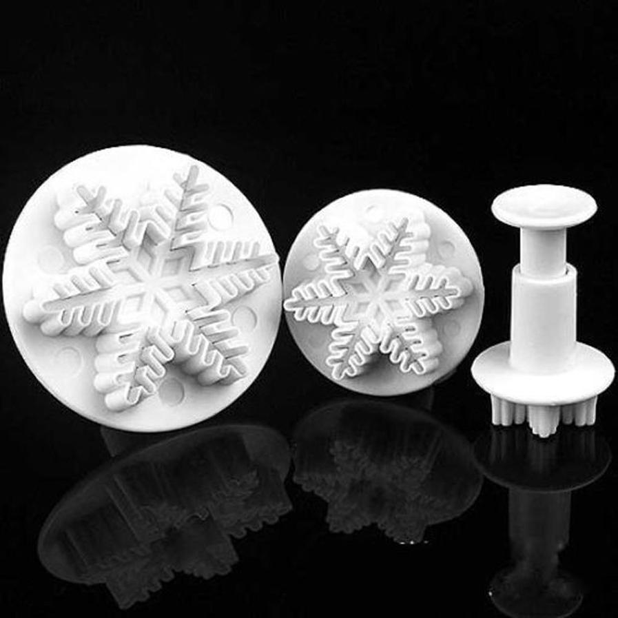 Cupcake Kitchen Decor Sets New 3d Plastic Snowflake Cake Cutter Mould Sugarcraft Mold Fondant