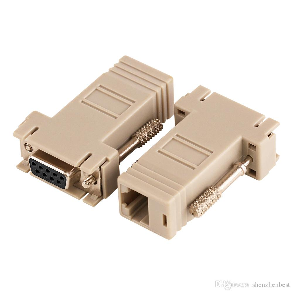 Wholesale 50pcs/lot DB9 Female to RJ45 Female F/F RS232 Modular Adapter Connector Convertor Extender