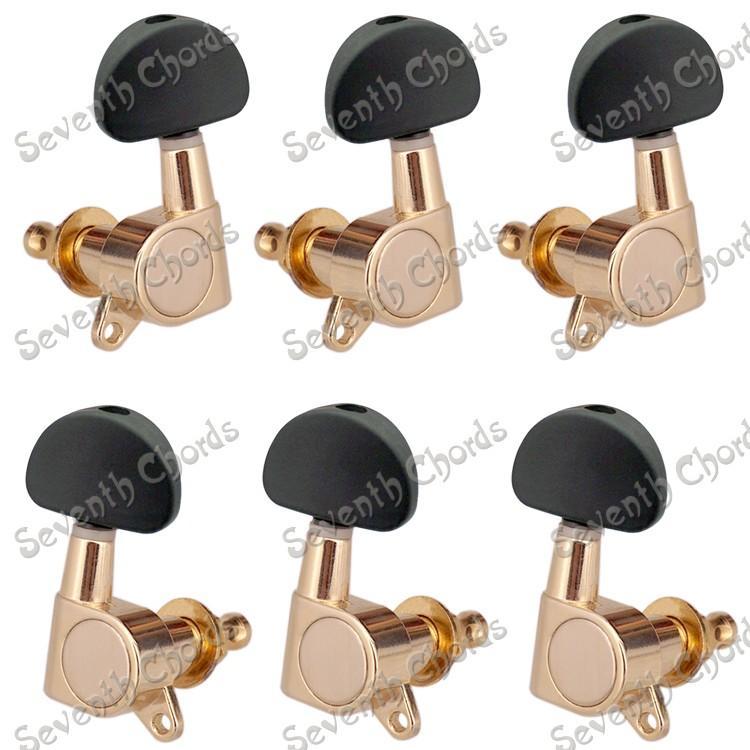 Набор 6 шт Черный большой полукруг кнопка герметичный зубчатые колышки тюнеры головки машины для электроакустической гитары-золото