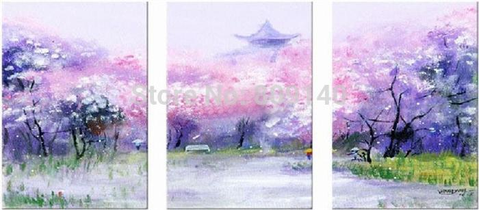 Stretched Japanese Cherry Blossom Landscape oil painting canvas abstract Floral scenery handmade home office hotel wall art decor Gift