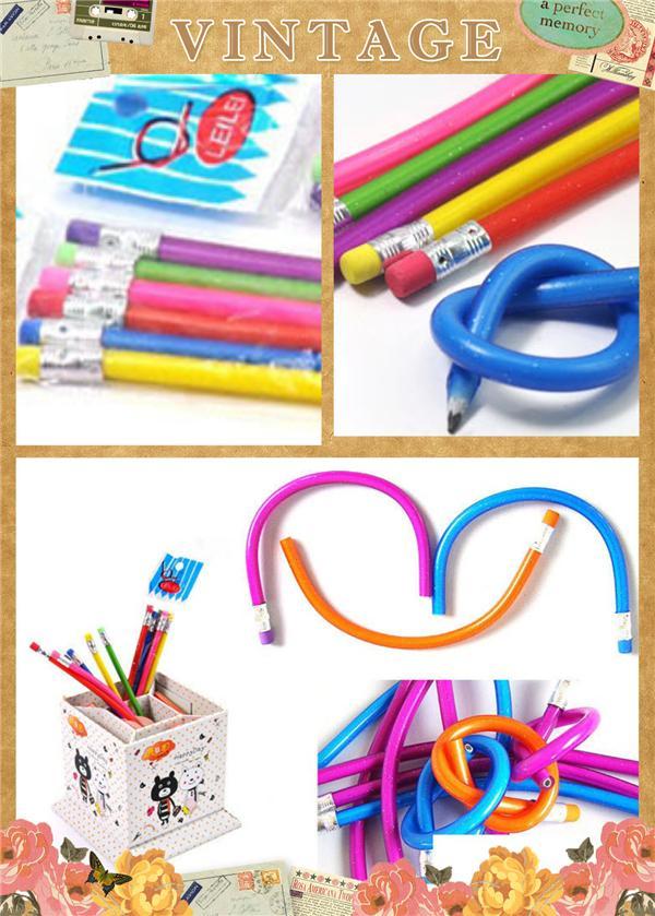 Soft Pencil Pencil Case Pencil Pencil Sharpener Children Kids 5x Soft Bendy Flexible Magic Pencils Fun Stationary School Children Kids Gifts