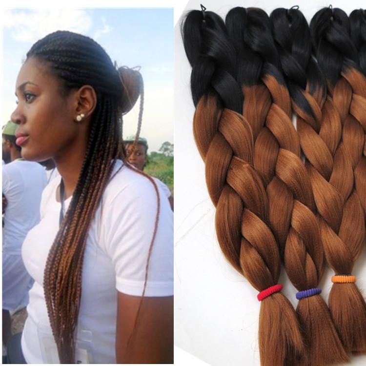 Kanekalon Ombre Synthetic Braiding hair 24inch 100g Black&Auburn brown two tone color Crochet braids twist synthetic Hair Extensions