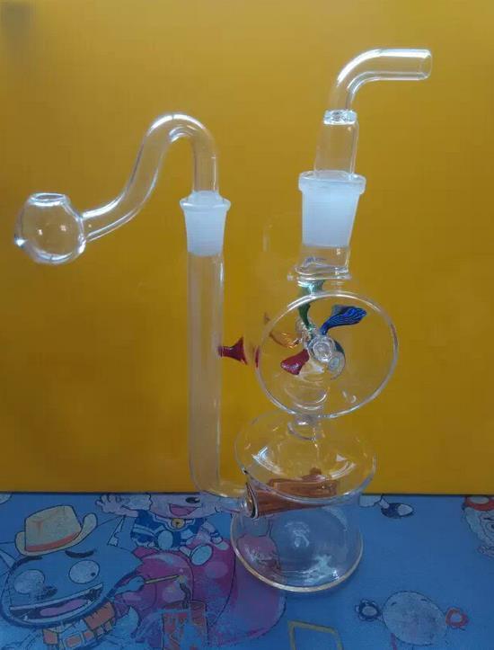 Grossisti di spedizione gratuiti ----- Mulino a vento in vetro trasparente stile Narghilé / bong in vetro, presentato un accessorio completo (vaso, calpestare la tavola, str