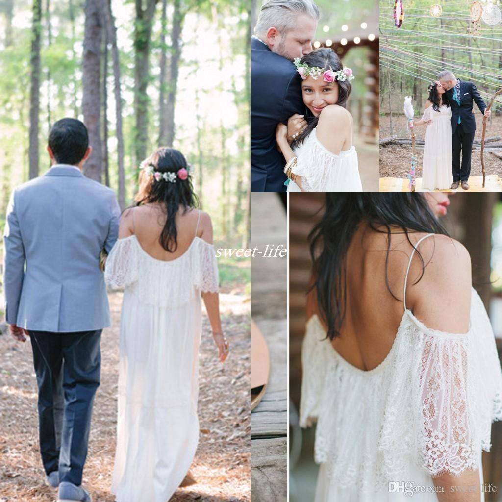 Discount 2019 Outdoor Lace Wedding Dresses Plus Size Sheer Spaghetti Off  The Shoulder Backless Floor Length Hippie Style Bohemia Wedding Bridal  Gowns ...