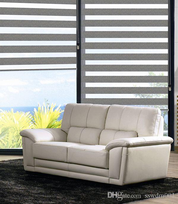 Roller Zebra Blinds/Light Filtering Sheer Shade in Grey Curtains for Living Room (32in*48in/81cm*121cm) 7 Colors