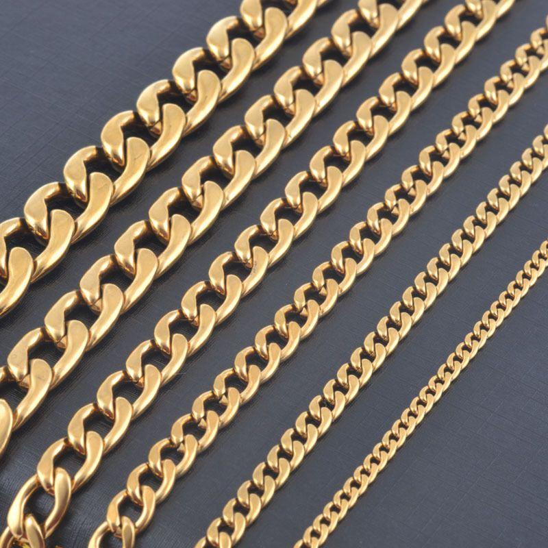 Breite 3mm / 4,5mm / 6mm / 7,5mm / 9,5mm / 11,5mm edelstahl gold farbe kette hochwertige männer kubanischen kette halskette