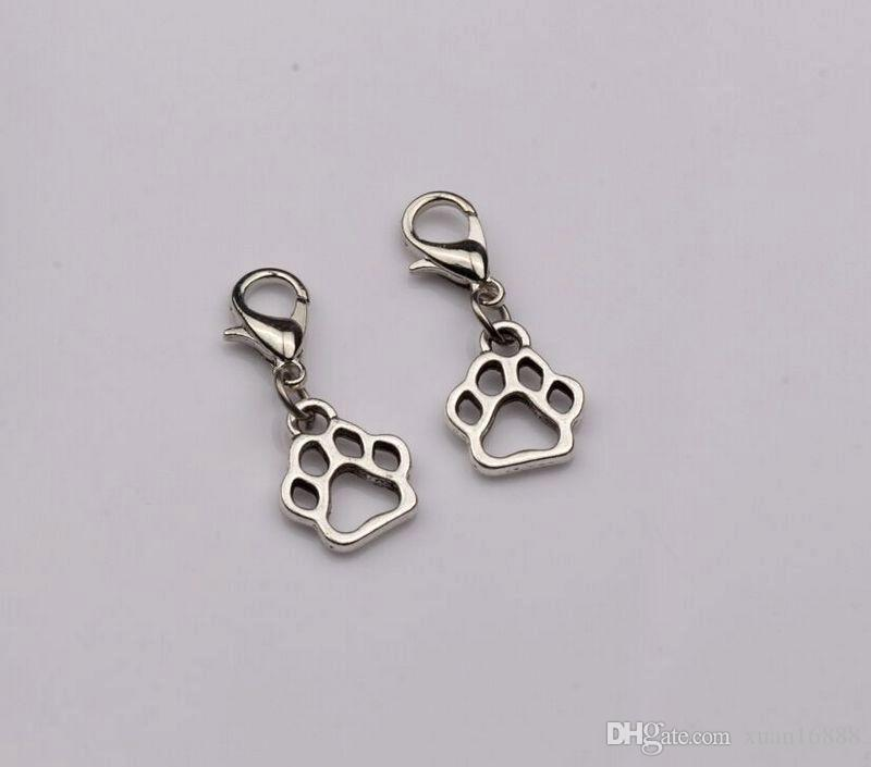 Hot Sell ! Antique Silver Hollow Paw Print Dangle Bead with Lobster clasp Fit Charm Bracelet 11 x 27 mm (402)