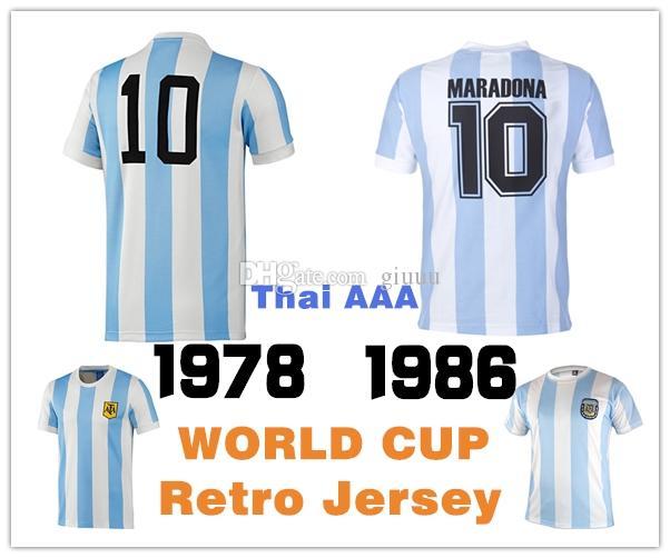 NEW 1984-86 Argentina Retro Soccer Jersey Man Tshirt S-XXL Maradona  10#