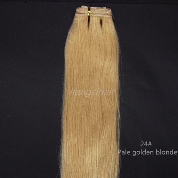 """En gros Prix Extensions de Trame de Cheveux 100% Brésilienne Vierge Remy Cheveux Raides Weave 100gx4 4pcs 16 """"-26"""" 24 # Blond Doré pâle"""