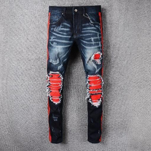 Hiphop popolare famoso Distrressed applique d'epoca strappato Motociclista cerniera pantaloni cargo degli uomini jeans uomini Vaqueros Hombre plus size 40