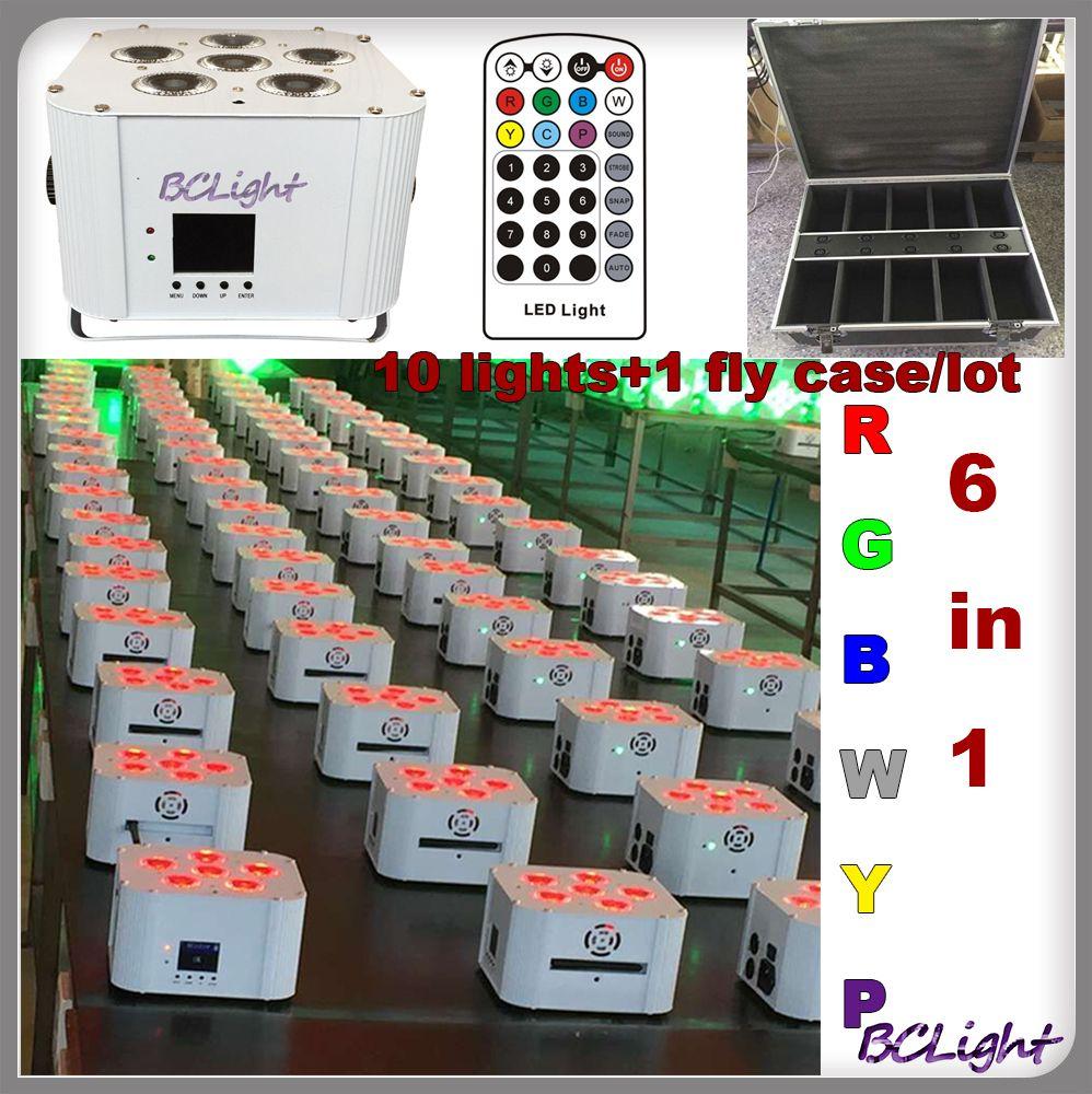 (10pcs +1 fly case /lot) High brightness wireless dmx led uplights 6*18w RGBWYP IRC battery power wedding decoration led lights