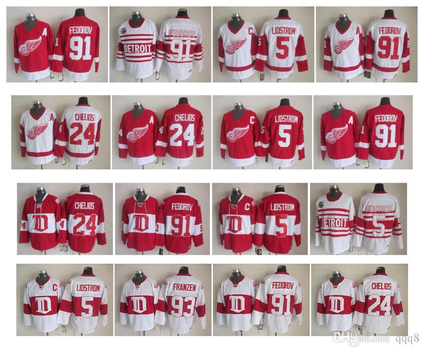 Maglia da hockey Detroit Red Wings retrò 5 Nicklas Lidstrom 24 Chris Chelios 91 Sergei Fedorov Vintage CCM Maglie autentiche Alta qualità!