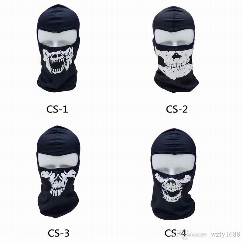 2017 NEW CS Cosplay Ghost Skull Black Full Face Mask Motorcycle Biker Balaclava Breathing Dustproof Windproof mask Skiing sport masks 50pcs