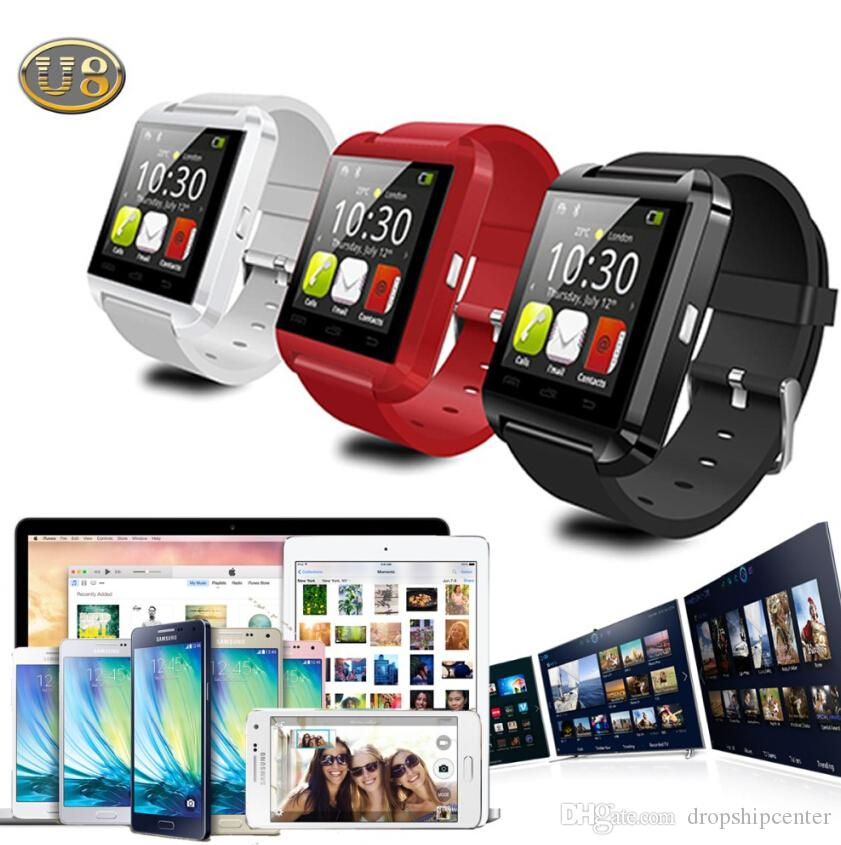 U8 Smartwatch Bluetooth Smart Wrist Watch U Wristwatch Sports Watches For Men Women MTK Wristwatches Sync iPhone Samsung Smartphone DHL