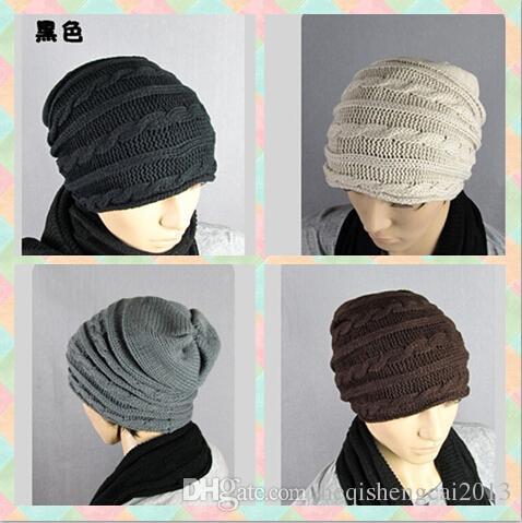 2016 vente chaude Hommes Femmes Amants capuchon Twist Tricoté cap jacquard Avec capuchon épais de mode chapeau 50 pcs
