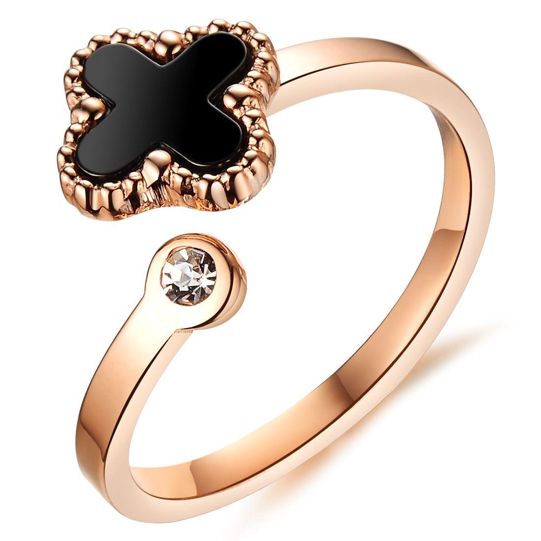 Four-leafed Clover Open Little Finger Rings Diamond Rhinestone ...
