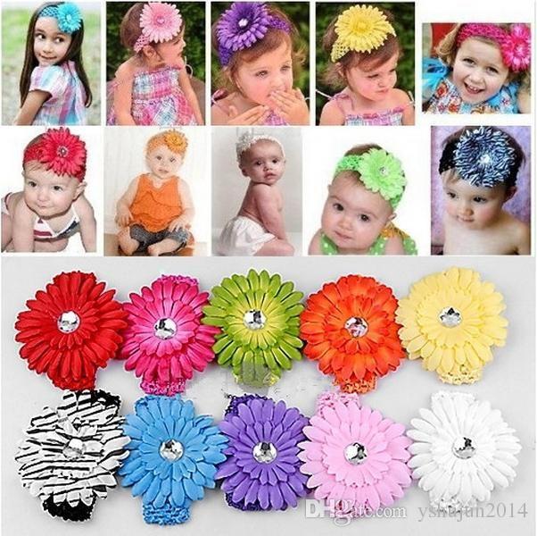 50pcs 머리띠 크로 셰 뜨개질 머리띠 + 50pcs 소녀 머리 꽃 머리 클립 아기 머리 활 클립