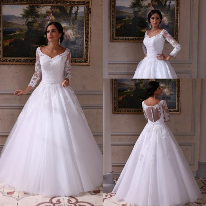 절묘한 레이스 웨딩 드레스 - 라인 V 목 Appliques 바닥 길이 화이트 Tulle Organza 버튼 뒤로 신부 드레스 Vestidos 드 Noiva